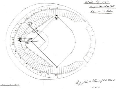 Stade Olympique - Plan du 1er balcon – Disposition baseball