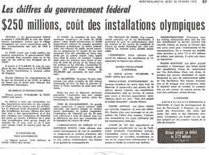 $250 millions, coût des installations olympiques