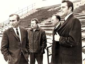 Stade Jarry. Hiver 1969 –-- Jin Fanning – Claude Phaneuf – Gene Kirby – Don Drysdale